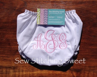 Monogrammed Diaper Cover, Monogrammed Bloomers, Diaper cover, Bloomers