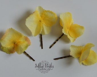 Yellow Hair PIns, Hair Accessories, Decorated Bobby Pins, Lemon Hair Clips, Artificial Flowers Hair Decorations, Hair Accessory