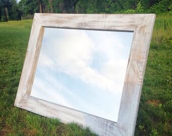 Distressed Whitewash Mirror