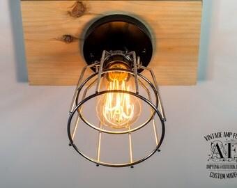 Nickel Cage ceiling light Industrial Aluminium ceiling light, Antique Edison Bulb, Lamp, Rustic Lighting