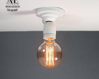 White Ceiling light Industrial Ceramic ceiling light, Antique Edison Bulb, Lamp, Rustic Lighting