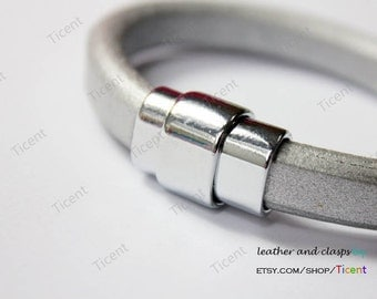 3 sets 10mmx7mm Silver Magnetic Clasp with Safe Bar, Clasp for 10mmx6mm Licorice Leather MT414