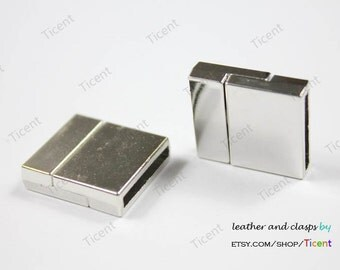 3 sets 18mmx3mm Hole Size Flat Magnetic Closure,Silver Plated Magnetic Clasp MT434