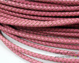 5mm Pink Round Genuine Bolo Leather, Pink Braided Bolo Leather Strap-1 Yard, BP5M-53