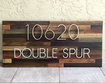 Reclaimed wood home address plaques