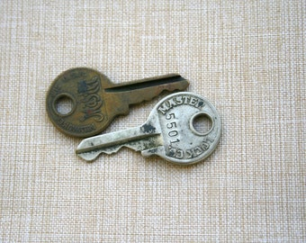 Keys  Old Master Lock Ornate Embossed Brass Small Keys Art Supplies Vintage Supplies