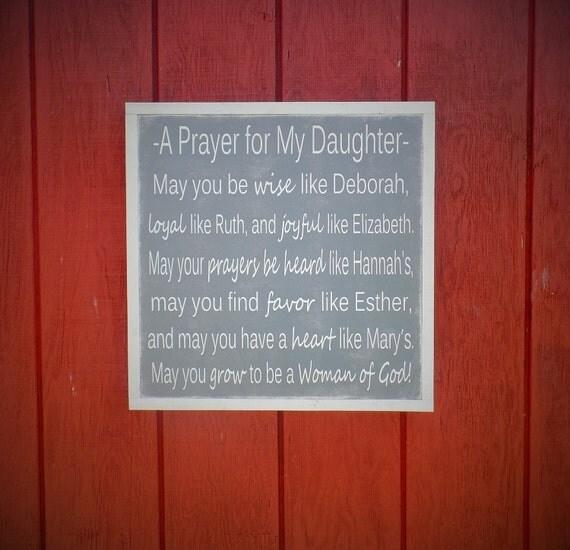 A Prayer for my Daughter Wood Sign Christian Wall Art Girls