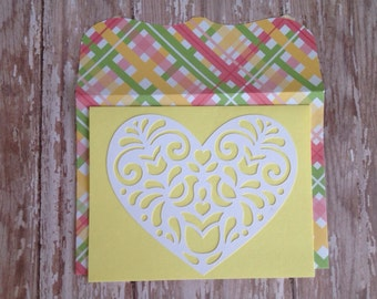 Heart Notecard with matching envelope - Greeting Card - Thank you Card - Wedding Card - Bird Card