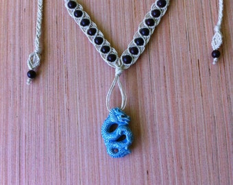 Macrame dragon necklace