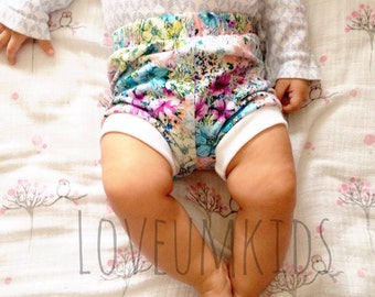 Baby/Toddler Girl Spring Floral Flower Cuffed Shorts Shorties