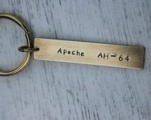 Custom Keychain, best friend keychain,AH-64 helicopter,3D helicopter ,personalized keychain,Hand Stamped keychain,Geek key chain