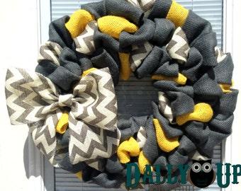 Burlap Wreath - Yellow, Dark Gray and White/Gray Chevron-  Home Decor  - Fall burlap Wreath - Everyday Wreath