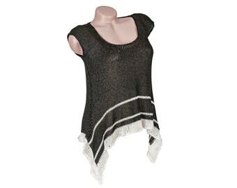 Knit summer tank top, Sleeveless crochet black shirt, Viscose knit blouse with stripes, Lightweight women's crochet top