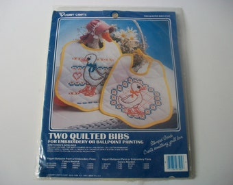 Quilted Bibs Kit, Vogart Crafts Gretchen's Goslings Bibs for Embroidery or Ballpoint Painting, Country Ducks Ducklings Cloth Baby Bibs