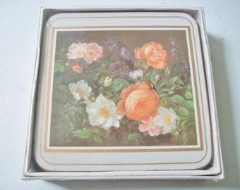 Classical Rose Coasters, English Life Sealed Floral Coasters, Vintage Square Classical Rose Coaster Set