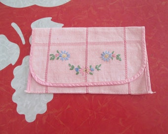 Vintage Embroidered Hankie Pouch