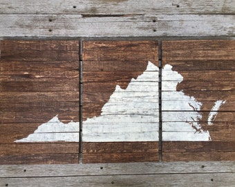 Rustic Multi-Piece Handmade State Wall Decor - Virginia