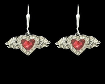 Small Winged Heart Earrings