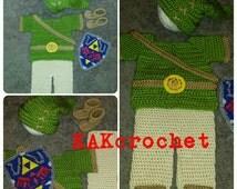 Crochet Link/Elf Costume, Zelda baby, Halloween costumes, baby dress up