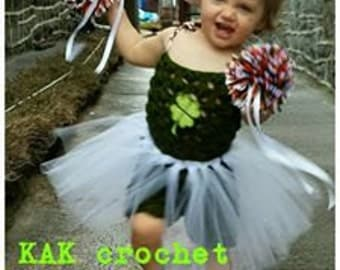 Cheerleader Outfit, Crocheted Romper with tutu and pompoms, Cute costumes and photo props. RTS