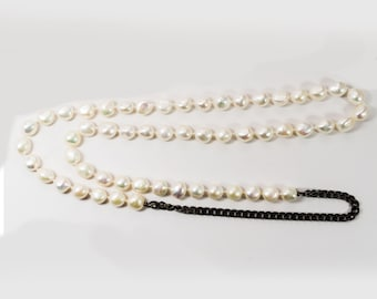 Hand Knotted White Freshwater Pearls Necklace