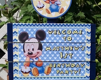 Baby Mickey Birthday Yard Sign