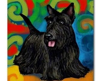 Scottish Terrier Dog Art Ceramic Tile Coaster