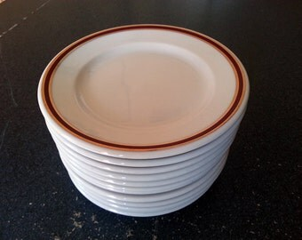 12 Homer Laughlin Gold and Red Striped Restaurant Ware Saucers