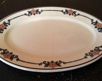 Vintage O.P. Co. Syracuse China Black and Orange Floral Serving Platter - Restaurant or Diner Ware