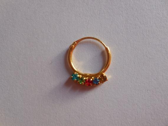 items similar to unique multi gemstone sated septum ring