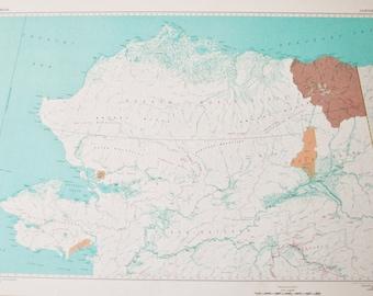 Vintage Alaska Map Etsy - Map of alaska and us