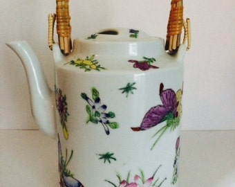 Vintage Saks Fifth Avenue Teapot with Bamboo Handles