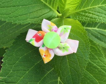 Button Flower Hair Clips - Small