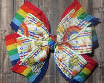 Rainbow Brite Hair Bow / Rainbow Brite Bow / Rainbow Hairbow