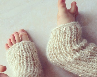 Baby Girls Hand Knitted Leg Warmers with Golden Sequins