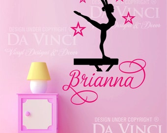 Gymnast Gymnastics Dancing Balance Beam Custom Personalized Name Wall Decal  Vinyl Sticker C