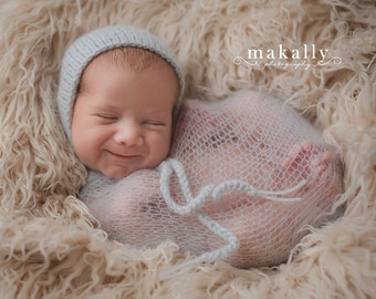 White Mohair Newborn Wrap and Matching Headband - Photo Prop