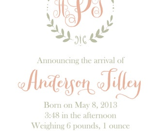 Monogrammed Branch Baby Announcements-FREE SHIPPING or DIY printable