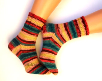 Hand Knitted Socks Yellow Green Women's Socks Yellow Green Girl's Socks Yellow Green Striped Men's Socks Warm Socks Winter Socks Wool Socks
