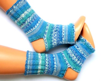 Ocean Breezes Yoga Socks Hand Knitted Blue Yoga Socks Girl's Yoga socks Summer Socks Flip Flop Socks Dance Socks Leg Warmers Pedicure Socks