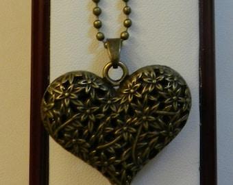 Lovely Bronze Filigree Heart Pendant  V1