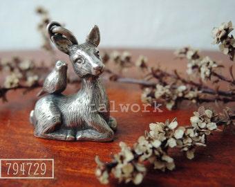 MW P1010 The 925 Silver Deer & Bird Pendant