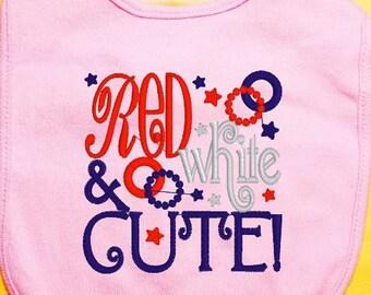 Patriotic Baby Bib, Fourth of July Baby Bib, Embroidered Red White & Blue Bib
