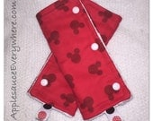 MICKEY red on red Drool/Suck Pads with white minky ans snaps!