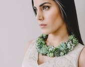 Stunning statement necklace | Live succulent jewelry | Living jewelry | Wedding jewelry.