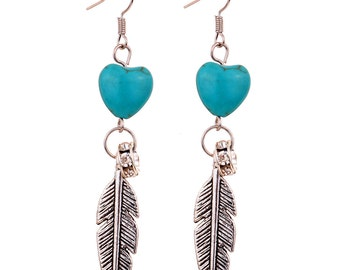 turquoise feather earrings - free shipping