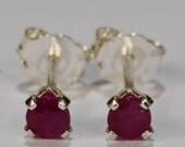 Ruby Earrings~.925 Sterling Silver Setting~3mm Round Cut~Genuine Natural Mined