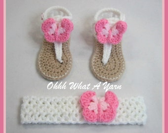 Crochet pink and white, baby sandals,  gladiator sandals, flip flops and matching butterfly trimmed headband- Age 3-6 months