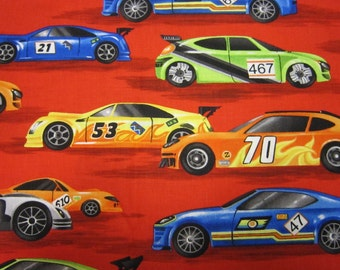 Race Car Cotton Fabric in Red Called Petal To The Metal by Robert Kaufman Fabrics
