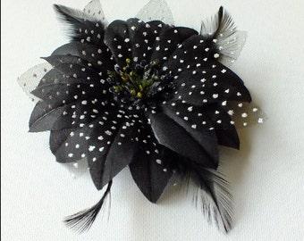Black flower hair clip